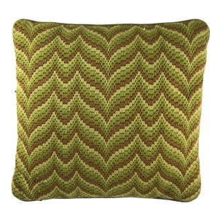 1970s Vintage Needlepoint Pillow For Sale