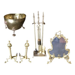 Art Nouveau Brass Fireplace Tool Set, Screen, Andiron, & Log Bucket Set - Set of 8 For Sale