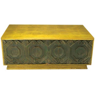 Phyllis Morris Gilt and Bronze Finish Cabinet Coffee Table For Sale