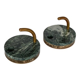 1980s Italian Modernist Marble and Bronze Candleholders - a Pair For Sale