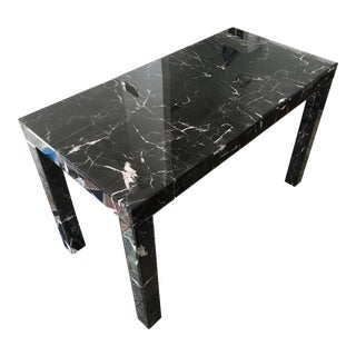 Black Glass Marble Parsons-Style Desk For Sale