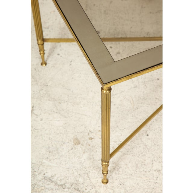 Rectangular Brass Coffee/Cocktail Table With Smoked Glass on Stretcher Base For Sale - Image 11 of 11