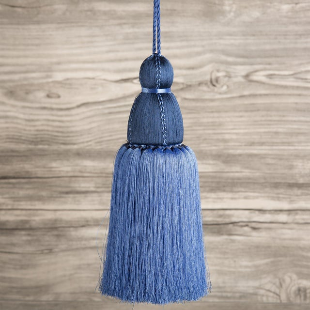 Traditional Navy & French Blue Tassel, Large For Sale - Image 3 of 3