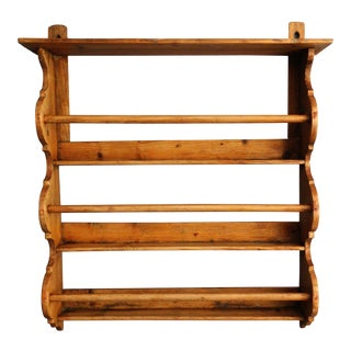 Antique English Hanging Pine Plate Rack Shelf For Sale