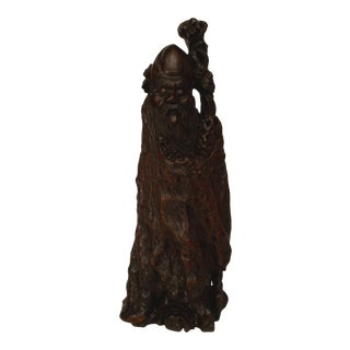 19th Century Asian Chinese Carved Root Standing Deity Figure For Sale