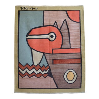 Paul Klee - 1914 - Inspired Silk Hand Woven Area - Wall Rug 4′4″ × 5′3″ For Sale