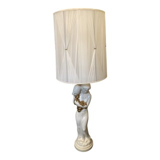 1970s Greek Goddess Ceramic Lamp With Shade For Sale