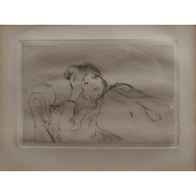 Figurative Berthe Morisot -Reclining Woman-Etching C1880s For Sale - Image 3 of 8