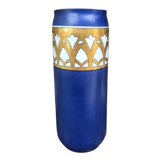 Art Deco Period Limoges France Blue & Gold Porcelain Vase For Sale