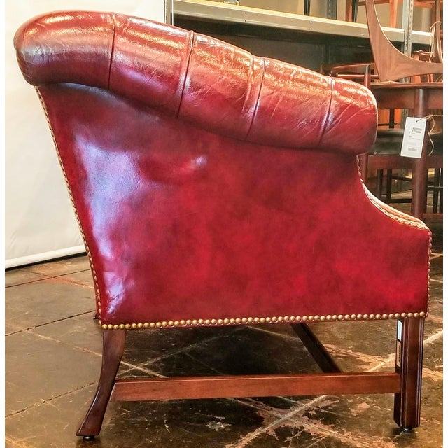 Vintage Burgundy Leather Button Tufted Camel Back Sofa With Antiqued Brass Nailheads For Sale In San Diego - Image 6 of 10