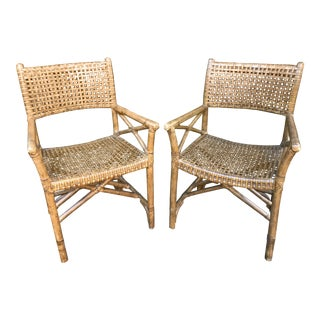 1990s Vintage McGuire Style Rattan and Rawhide Chairs- a Pair For Sale