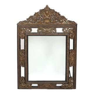 19th Century Baroque Style / Brass Embossed Beveled Wall Mirror For Sale