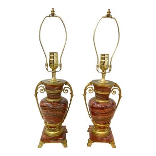Pair of French Rouge Marble and Gilt Bronze Lamps For Sale