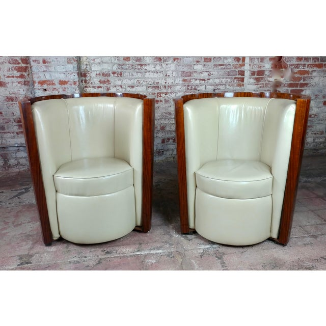 Art Deco Fabulous Burl Walnut Barrel Chairs W/White Leather Seats-A Pair For Sale - Image 10 of 10