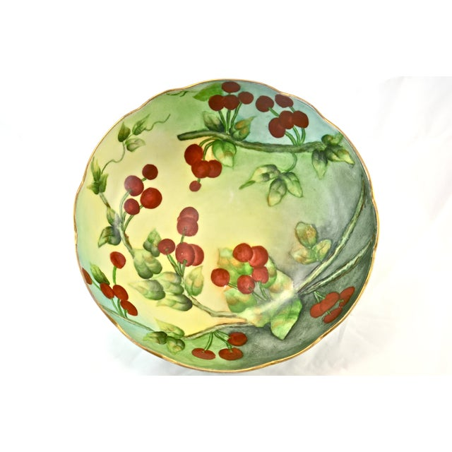 Edwardian 1910s Limoges Centerpiece Hand-Painted Bowl For Sale - Image 3 of 5