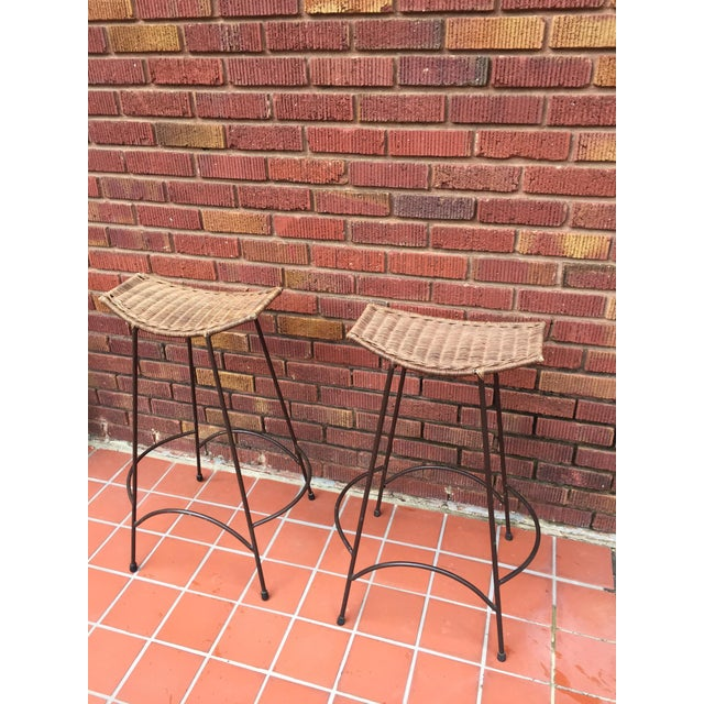 Mid-Century Modern 1970s Mid-Century Modern Arthur Umanoff Style Iron and Rattan Barstools - a Pair For Sale - Image 3 of 9