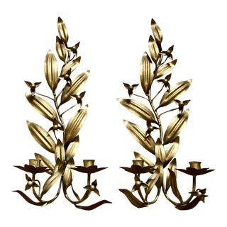 Pair of Lily Leaf Gilded Sconces For Sale