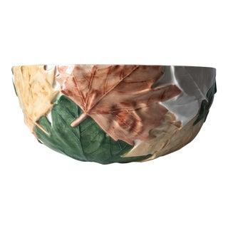 "Bordallo Pinheiro 11"" 'Plane Tree Leaves' Serving Bowl For Sale"