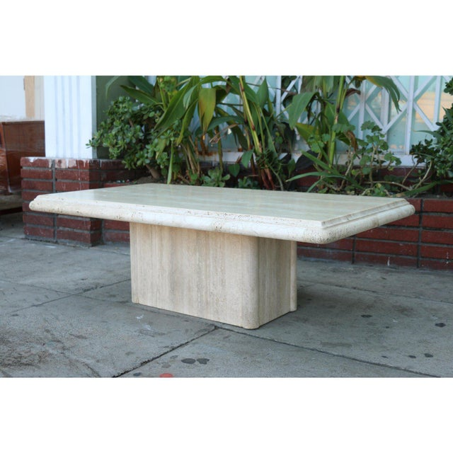 Vintage Mid Century Travertine Coffee Table For Sale - Image 4 of 9