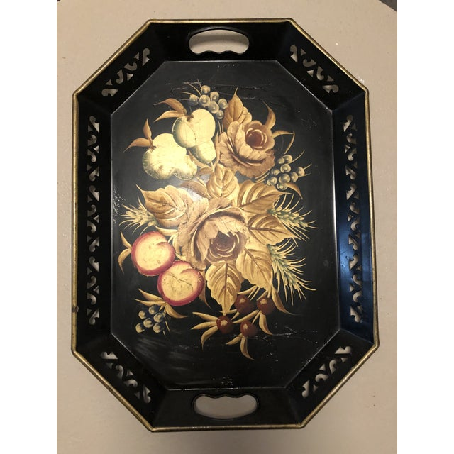 1960s 1960s Mid Century Black Hand Painted Metal Tray For Sale - Image 5 of 5