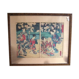 Antique Japanese Woodblock Diptych Print by Toyokuni III For Sale