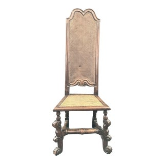 Italian Carved 18th Century Tall Back Walnut Caned Chair For Sale