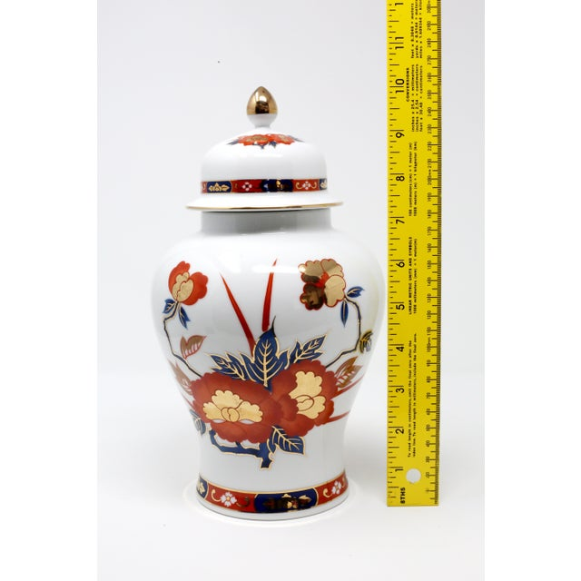 White Vintage Ginger Jar With Hand-Painted Rust, Blue and Gold Flowers For Sale - Image 8 of 11