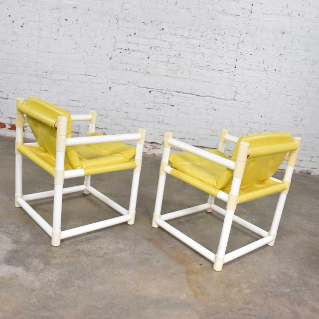 MCM Outdoor Pvc Side Chairs Yellow Vinyl Upholstery by Decorion Fun Furnishings - a Pair For Sale - Image 6 of 11