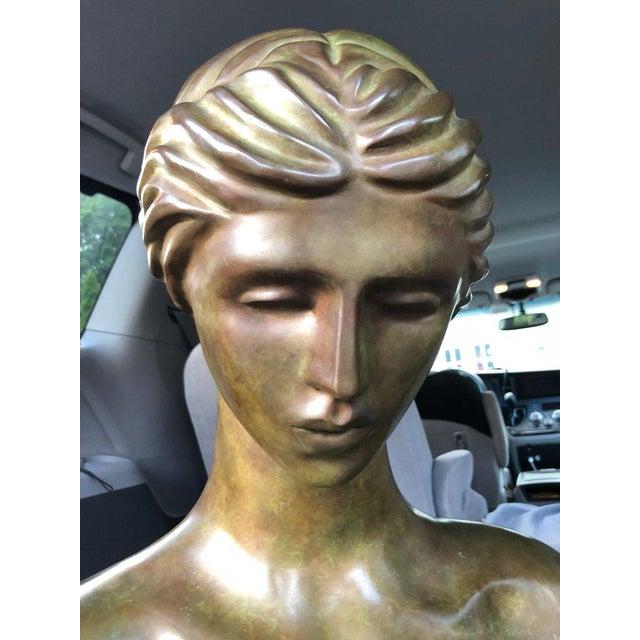1940s Art Nouveau John Destefano Female Bronze Nude Sculpture For Sale In New York - Image 6 of 11