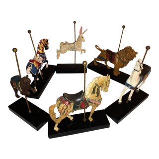 1980s Vintage Hamilton Collection Carousel Animal Figures- Set of 6 For Sale