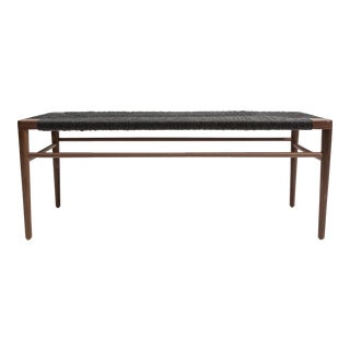 Smilow Walnut and Black Rush Bench For Sale