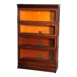 Arts & Crafts Mission Oak Barrister 4-Stack Bookcase, Globe Wernicke, circa 1920 For Sale
