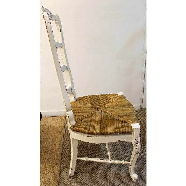 french country white carved 4 rung rush seat ladderback dining