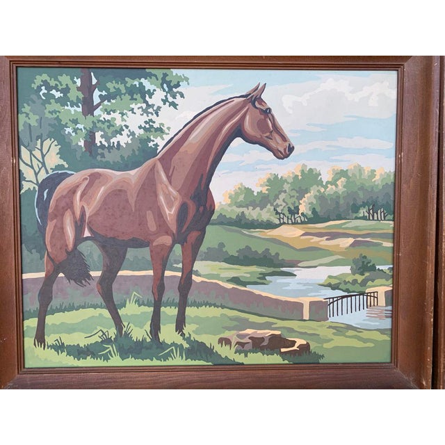 Folk Art Vintage Paint by Numbers Horse Paintings - a Pair For Sale - Image 3 of 5