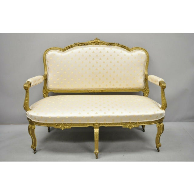 19th Century French Louis XV Style Gold Gilt Wood 3 Piece Parlor Salon Suite. Listing set includes, (1) loveseat, (1)...