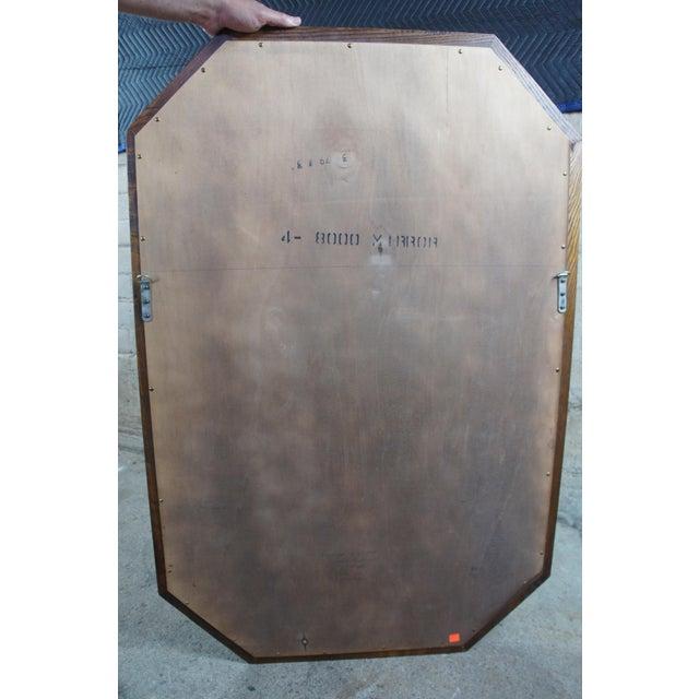 "Brown 1979 Henredon Oak Octogon Shaped Traditional Vanity Dresser Wall Mirror 48"" For Sale - Image 8 of 11"