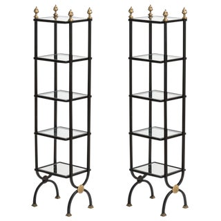 Vintage Iron & Brass 5 Tier Etageres With Glass, A-Pair For Sale
