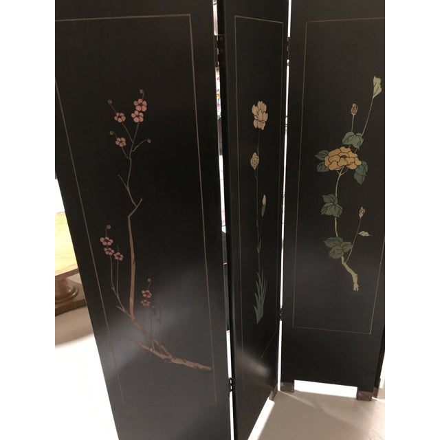 Brass Vintage Chinese Lacquer Coromandel 4-Panel Screen For Sale - Image 7 of 11