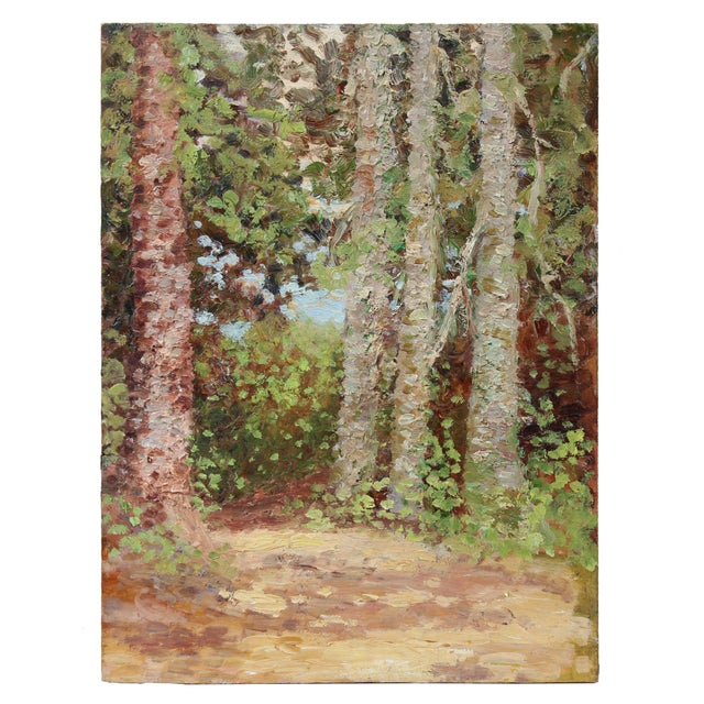 Impressionism Impressionist Trees in a Landscape, Oil Painting, Circa 1900-1930s For Sale - Image 3 of 3