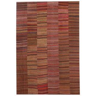 Distressed Vintage Turkish Kilim Rug With Bayadere Stripes - 8′ × 11′10″ For Sale