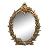Image of Italian Carved Wood Gold Gilt Mirror on Stand For Sale