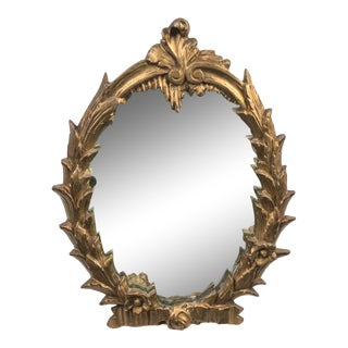 Italian Carved Wood Gold Gilt Mirror on Stand For Sale