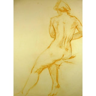 Nude From Behind in Orange Pastel For Sale