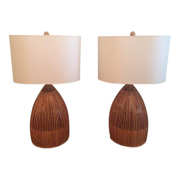 1960s rattan table lamps a pair chairish 1960s rattan table lamps a pair image 1 aloadofball Images