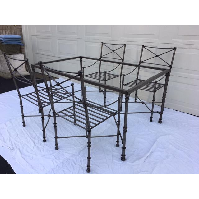 """Contemporary Neoclassical iron dining table & chairs. Four heavy iron chairs, measuring 38"""" tall x 20"""" wide x 18.5"""" deep...."""