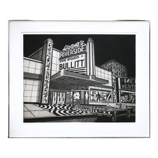 """Vintage """"Bullit"""" Steve McQueen Theater Etching by McCombs"""