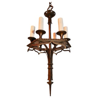 1920s Small Bronze Chandelier For Sale