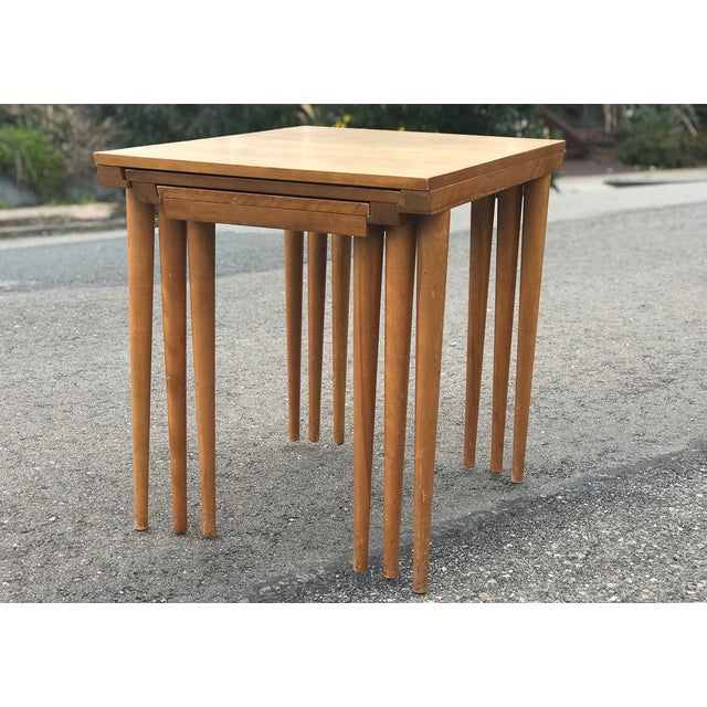 Contemporary MCM Russell Wright for Conant Ball Nesting Tables - Set of 3 For Sale - Image 3 of 13