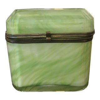 Vintage French Green Glass Box For Sale