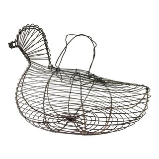20th Century Cottage Wire Hen Shaped Egg Gathering Basket For Sale
